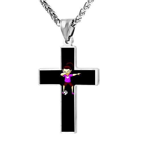 Elelab Fashion Dabbing Football Girl Cross Necklace Zinc Alloy Pendant Creative Personalized Accessories Prayer Christian 24 (Tide Personalized Football)