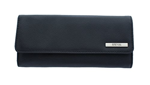 Zip Clutch Tri - Kenneth Cole Reaction Women's Saffiano Tri Me A River Wallet (Black)