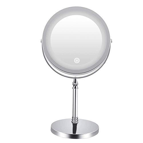 LED Lighted Makeup Mirror,Vanity Mirror with Touch Screen,10X Magnification Spot Mirror, Countertop Cosmetic Mirror,Adjustable Brightness,Double Sided,Polished Chrome