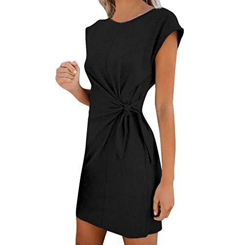 TANGSen Womens Casual Pocket Solid Summer Dress Ladies Short Sleeve Fashion Evening Party Mini Dress ()