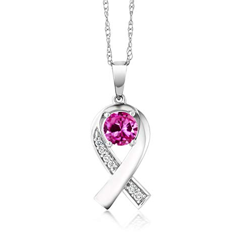(Gem Stone King 0.64 Ct Pink Created Sapphire G/H Lab Grown Diamond 10K White Gold Necklace)