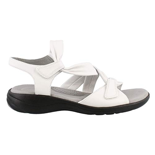 CLARKS Womens Saylie Moon Leather Strappy Flat Sandals