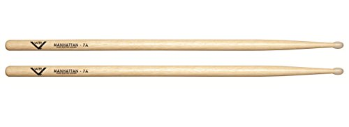 Vater 7A Nylon Tip Hickory Drum Sticks, Pair ()