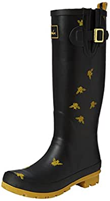Joules Women's Wellyprint Rain Boot, Black Bees, 7 M US