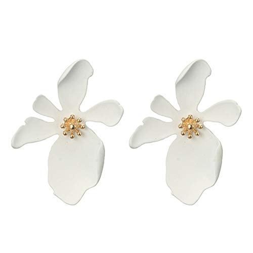 925 Sterling Silver Plated Golden Blossom Long petals Daisy Sunflower Charm Big Stud Earrings,White