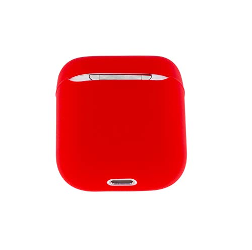 Airpod Case, ifctn Ultra-Thin Portable & Protective Liquid Silica Rubber Cover Case Accessories Compatible with Apple Airpods 2 &1 (Red)