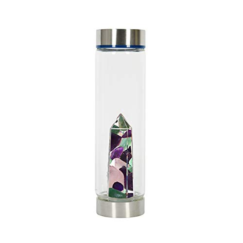 Bewater Glow Re-usable Water Bottle with Gemstone Center: Amethyst, Rose Quartz and Green Aventurine (Glass)