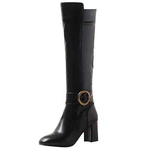 Haut Chaussures 8 Simple Fermeture Éclair Hautes Avec Femmes Bottes Longue Solid warm Black Talon Taoffen xn80q6UwA