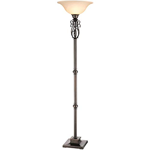 Floor Lamps 1 Light Fixtures with Elegant Multi-S Scroll Metal Torchiere Frosted Glass Shade Polyresin Material 18 inch Wide