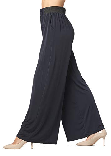 Palazzo Pants with Pockets for Women - Many Colors and Prints - High Waisted Wide Legged - Solid Navy - One Size - 715854664505