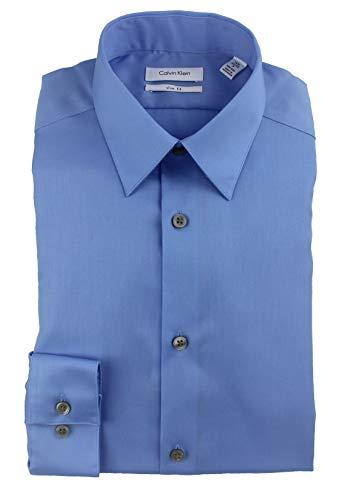Calvin Klein Men's Slim Fit Dress Shirt Solid Non Iron Cotton 33T0477 (Blue, 15.5 34-35)