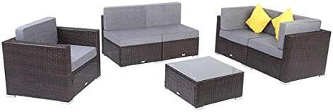 "Indoor Outdoor Garden Porch Leisure Furniture 33.5 x 29.5 x 25/"" Brown 4 Cushioned Seat Backrest Wicker Chair Goujxcy Patio Rattan Armrest Single Sofa"