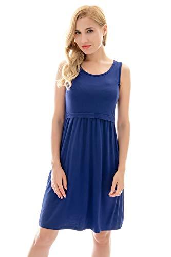 Bearsland Women's Sleeveless Maternity Dress Nursing Breastfeeding Dresses with Pockets Blue