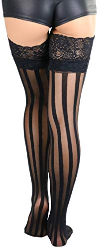 ToBeInStyle Women's Lace Top Stockings with Vertical Stripe - Black - OS by ToBeInStyle (Image #2)