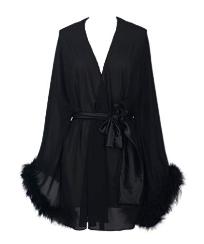 Feather Sleeve Short Bridal Robe with Sash Short Sexy Night Gown Pajamas (Black)