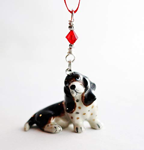 Basset Hound Dog Christmas Ornament Small Porcelain Puppy Animal Figurine
