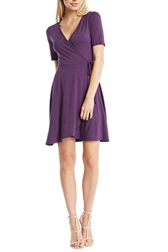 Women's V Neck Jersey Knit Short Sleeves Fit and Flare Classic Wrap Dress USA Violet M