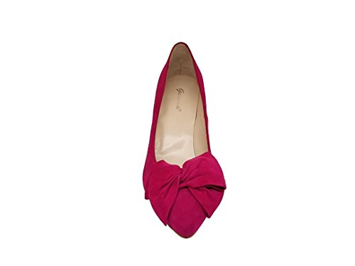 Malorie Women´s Stiletto Closed GENNIA Heel Pumps Bow Leather Toe Leather Clavel Fuxia Suede q15Zxwdn6
