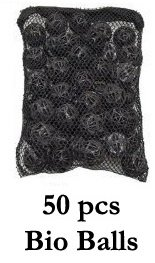 Biological Filter Bio Ball in Nylon Mesh Media Bag with PLASTIC zipper (not metal) to prevent rust/oxidation! Ponds Aquariums by Cz Garden (50 Bio Balls in Mesh Bag) ()