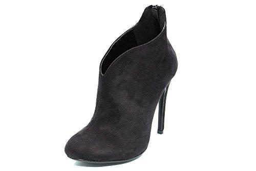 F10862As - Damen Ankle Boots mit High Heels - Kunstwildleder - Schwarz - UK8 EU41