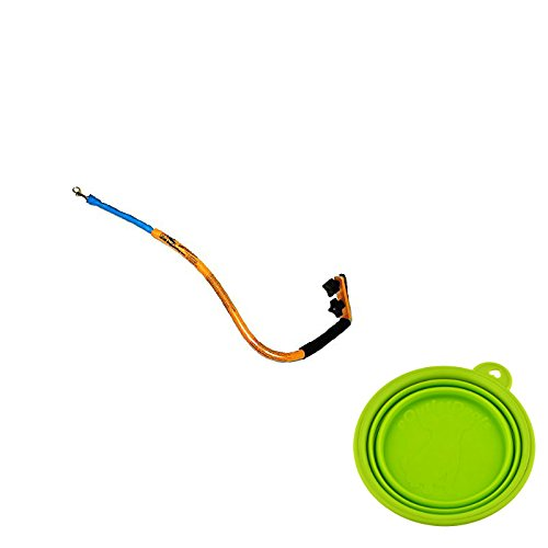 Best Bike Dog Leash - Bike Tow Leash - Stable and Safe - Medium to Large Dogs Bundled with eOutletDeals Collapsible Pet Water / Food Travel Bowl (Orange)