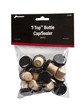 T-Top Bottle Cap Sealer/Stopper, Black and Cork, 12 Each in A Card