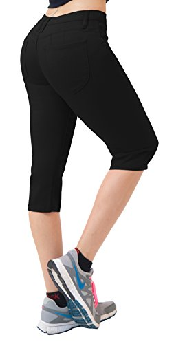 Women's Butt Lift Super Comfy Stretch Denim Capri Jeans-Q43300-BLACK-13