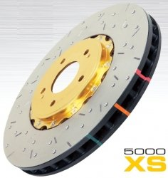 DBA DBA52320BLKXS 5000 Series XS Black Hat Premium Cross-Drilled and Slotted Front Vented Fully Assembled Disc Brake Rotor - 2 Piece 2 Piece Drilled Discs