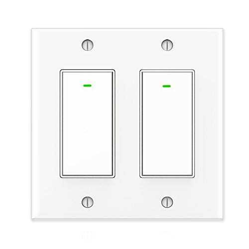 2 Gang Light Switch - Smart Light Switch 2 Gang, Alexa Switch Work with Google Home and IFTTT, Voice and Remote Control, 2.4G WIFI, Schedules and Timers, Single-Pole, No Hub Required, Neutral Wire Required