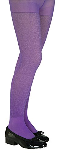 Girls Purple Glitter Witch Tights (Rubie's Costume Purple Glitter Tights Child Large)