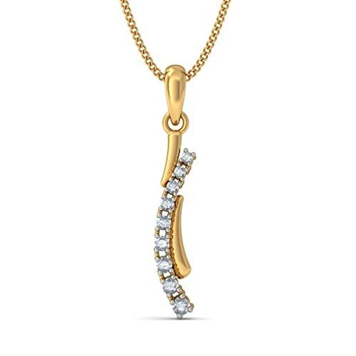14K Or jaune 0.23CT TW Round-cut-diamond (IJ | SI) Pendentif