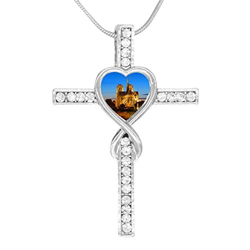 (F.H8Neck_Lace0 Zinc Silver Notre Dame de Paris Cross Love Pendant Chain for Women/Girls Alloy Stainless Steel Jewelry)