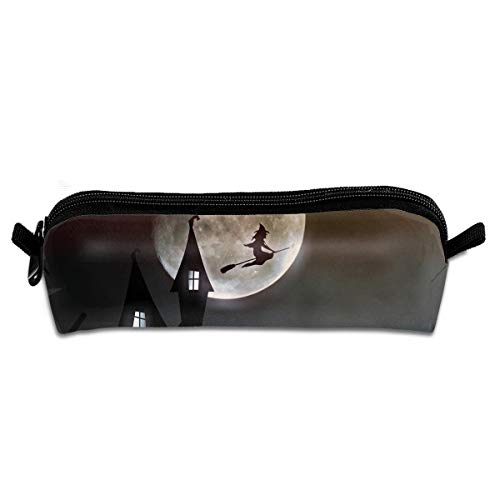 FSXIK Witch House Moonlight Creepy Halloween Novelty Women Colored Cosmetic Bag Zipper Single Layer Travel Storage Makeup Bags Purse