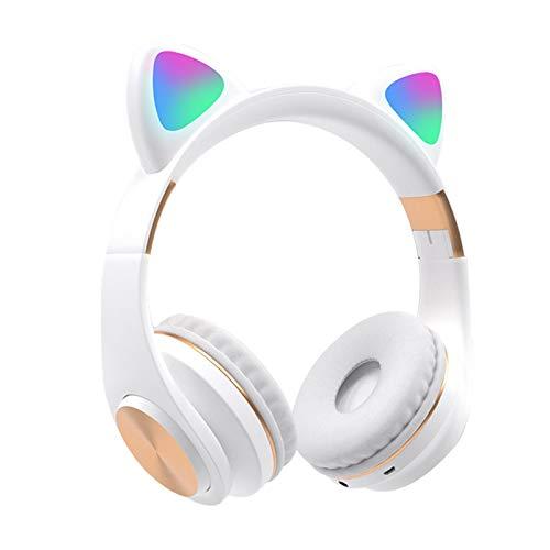CALIDAKA Bluetooth Headphones Cat Ear LED Light Up Wireless Foldable Headphones Over Ear with Mic HiFi Stereo Sound Soft…