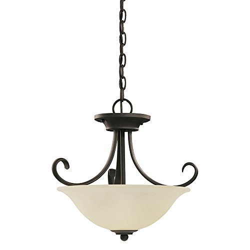 - Sea Gull Lighting 51120-820 Del Prato Two-Light Semi-Flush Convertible Pendant with Seeded Acid Etched Cafe Tint Glass Shade, Chestnut Bronze Finish