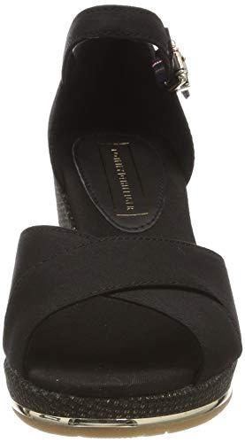 Plataforma Con Negro Sandal Hilfiger Mujer Sandalias 990 Mid Basic Feminine Wedge black Para Tommy AB0nH8P