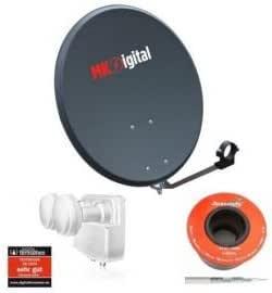 MK Digital 80 cm antena satélite de acero + Opticum LMTP-04H ...
