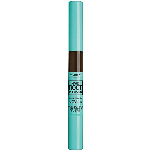 L'Oreal Paris Hair Color Magic Root Precision Temporary Gray Hair Color Concealer Brush, 4 Dark Brown, 0.05 Fluid Ounce ()