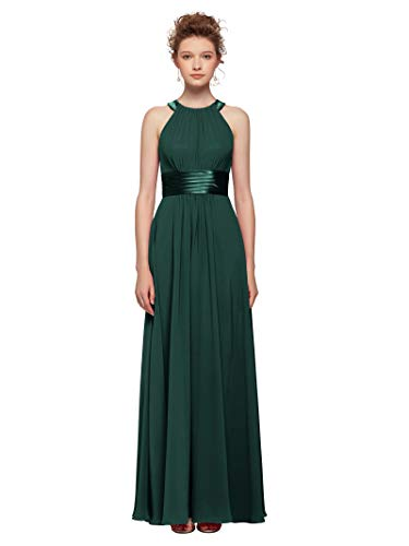 AW Bridal Plus Size Long Bridesmaid Dresses Jewel Neck Prom Dresses Modest Chiffon Evening Formal Dresses, Dark Emerald, US24
