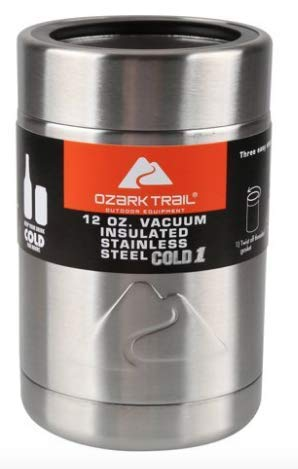 Ozark Trail 12 Ounce Double Wall Can Cooler Cup, Silver Top - 2 Pack
