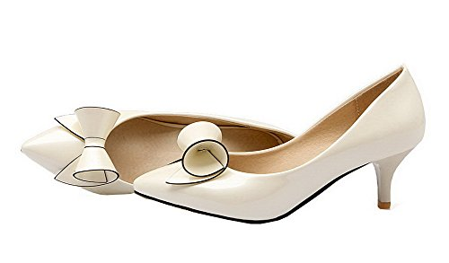 AgooLar Damen Blend-Materialien Schließen Zehe Mittler Absatz Ziehen auf Pumps Schuhe Cremefarben