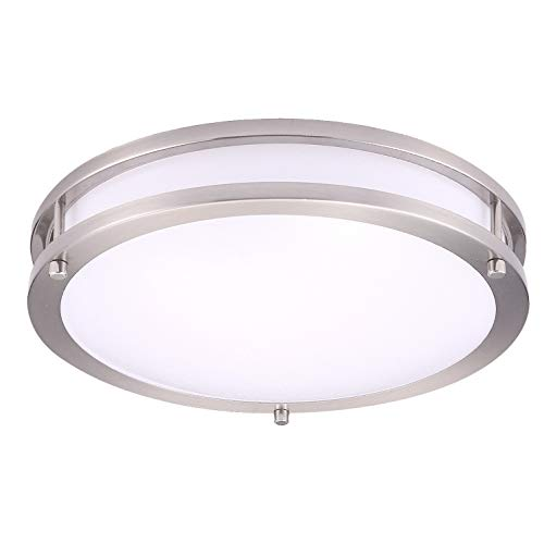 OSTWIN 10 Led Flush Mount Light Fixture, Dimmable, Round 16 Watt (100W Repl.) 5000K Daylight, 1120 Lm, Nickel Finish with Acrylic Shade ETL and Energy Star Listed