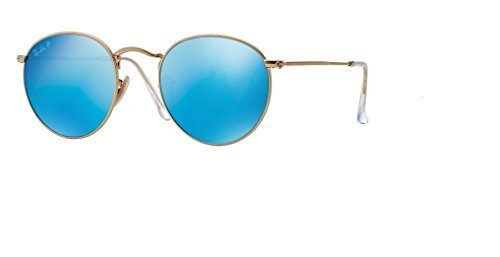 (Ray Ban RB3447 ROUND METAL 112/4L 50M Matte Gold/Blue Mirror Polarized Sunglasses For Men For Women)