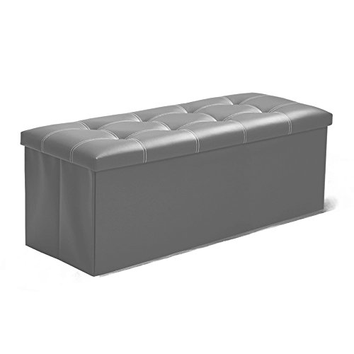 InSassy Folding Storage Ottoman Bench Foot Rest Toy Box Hope Chest Faux Leather - Large - Light Grey