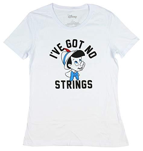 (Disney Pinocchio Wooden Puppet I've Got No Strings Junior's T-Shirt (Small) White)