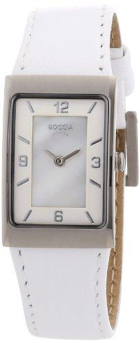 Boccia B3186-01 Ladies Titanium White Leather Strap Watch