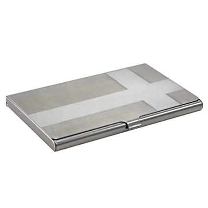 eforcity business card case cross silver - Silver Business Card Holder