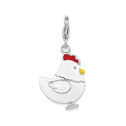 925 Sterling Silver Rh Enamel Chicken Lobster Clasp Pendant Charm Necklace Animal Fine Jewelry Gifts For Women For Her]()