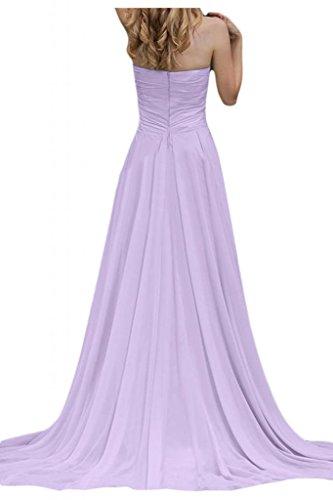 Por la noche vestidos de novia sin tirantes de la Toscana diseño de balón de la gasa de la dama de honor de largo vestidos Prom morado