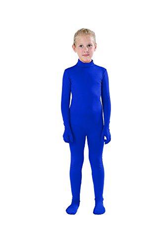 Blue Body Suit (Full Bodysuit Kids Dancewear Solid Color Lycra Spandex Zentai Child Unitard (M,)